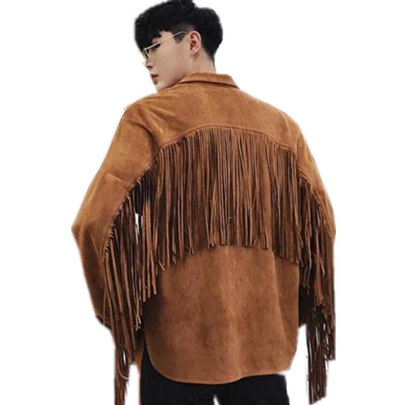 Spring New Men's tassel design punk hip hop Jacket Male Casual Streetwear Hip Hop street style Coat Men Clothing