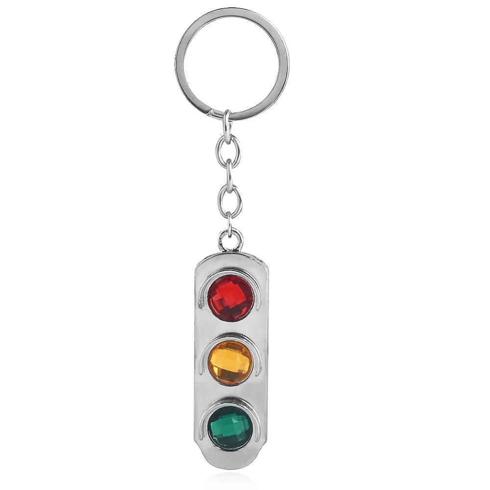 Criativo luzes de trânsito chaveiro clássico vermelho amarelo verde metal keyring para mulheres masculino carro chaveiro pingente jóias