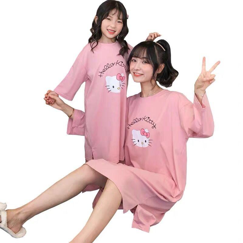 Ropa de familia mamá hija camisón suelto XL dibujos animados de manga larga vestido de noche chica a juego trajes
