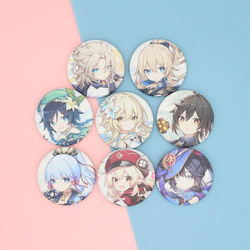 Anime Online Game Genshin Impact Cosplay Hutao Kawaii Bedge Cartoon Gift Backpacks Bags Badges Button Brooch Pin Accessories Y2K