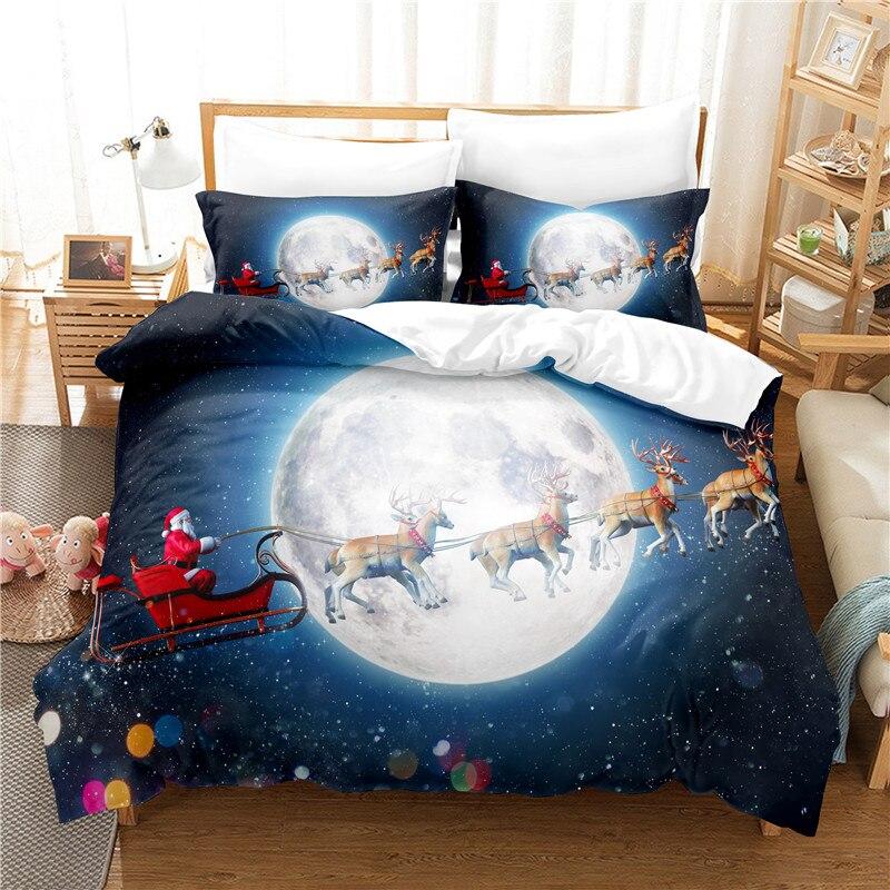 عيد الميلاد مزلقة طقم سرير حاف مجموعة غطاء الفراش ثلاثية الأبعاد الطباعة الرقمية أغطية سرير طقم سرير حجم الملكة تصميم عصري