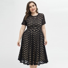 Plus Size Women Summer Dress Elegant Black Lace Women's Party Dress Club Outfits 2021 New Hollow Out