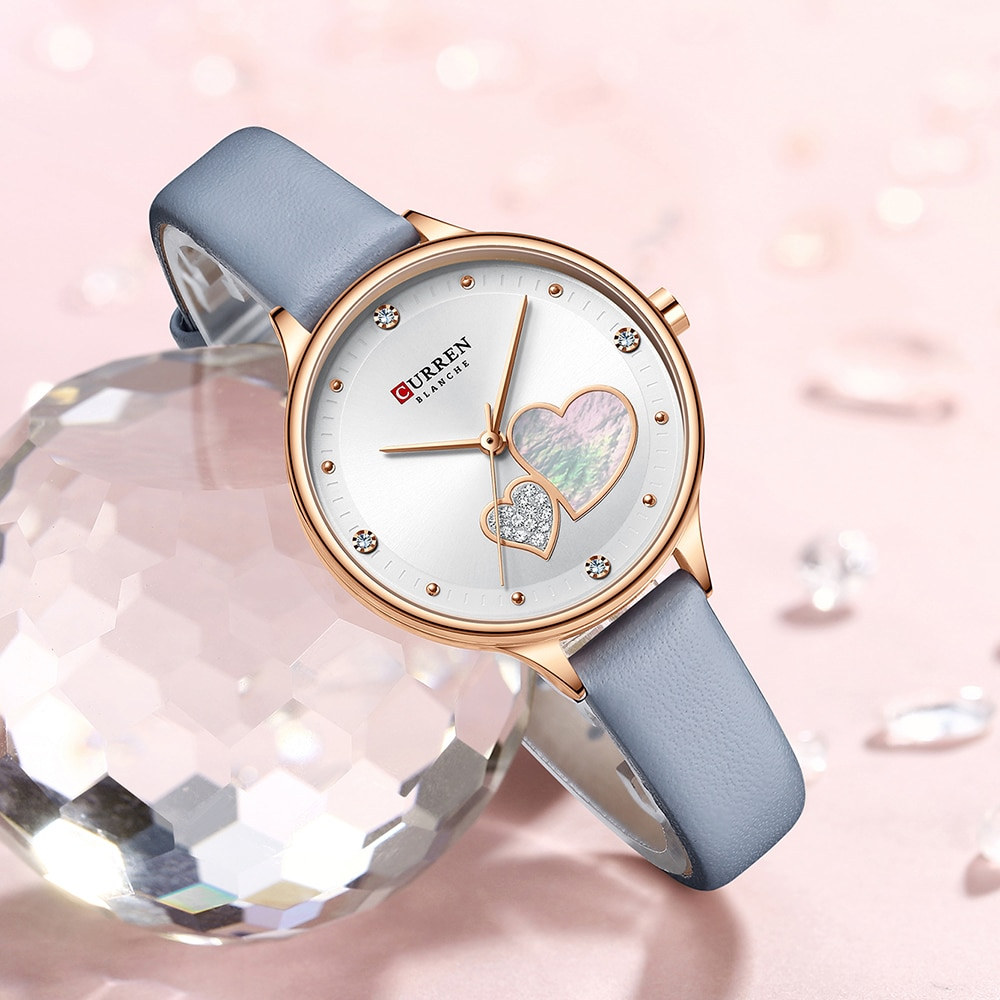 CURREN Women Fashion White Golden Quartz Watch Charming Rhinestone Design Waterproof Leather Band Wristwatch Luxury Casual Clock enlarge