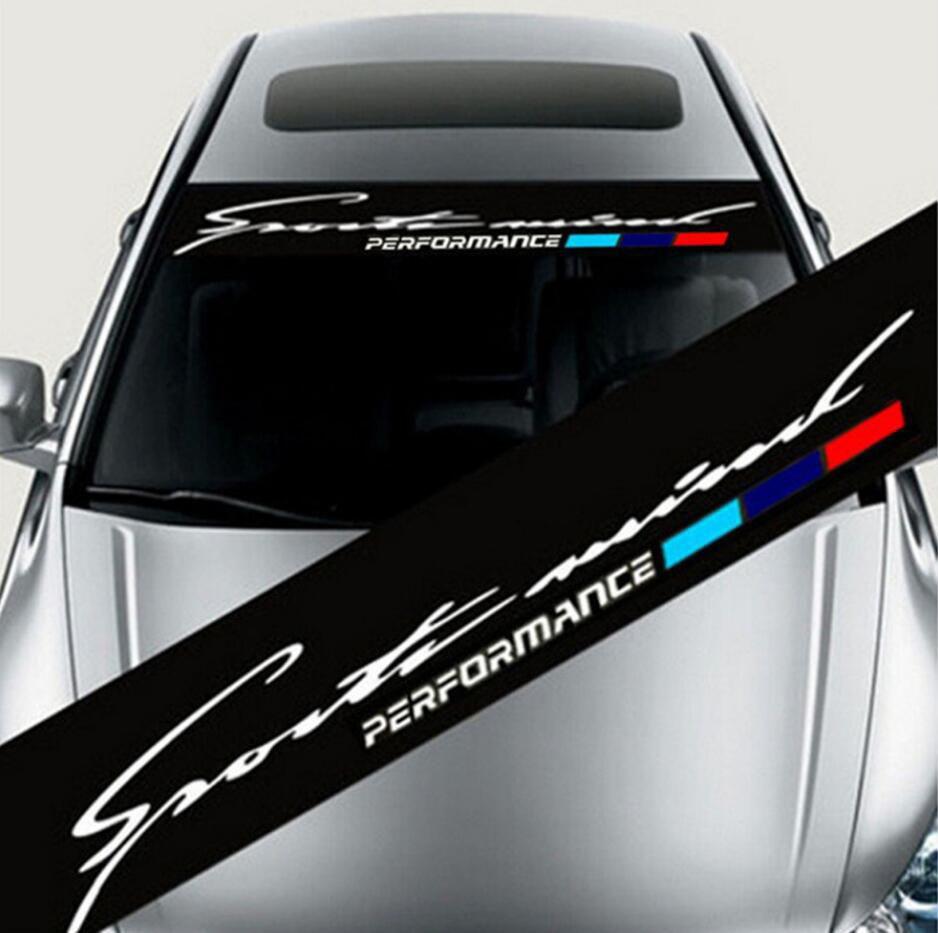 Pegatina de sombrilla para parabrisas de coche, 21x130cm, Universal, negro, autoadhesivo, pegatina de tira de vinilo, pegatinas M performance