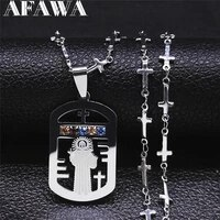 catholicism%c2%a0cross crystal stainless steel jesus necklaces charm silver color statement necklace jewelry croix pendentif n4908s02