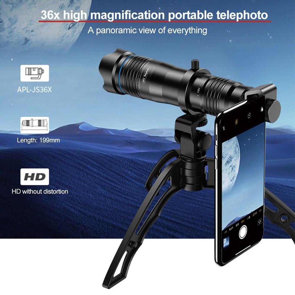 Acampamento viagem fácil instalar concerto de alta potência telefone inteligente fotografia ajustável 36x hd com tripé kit lente telefoto pesca