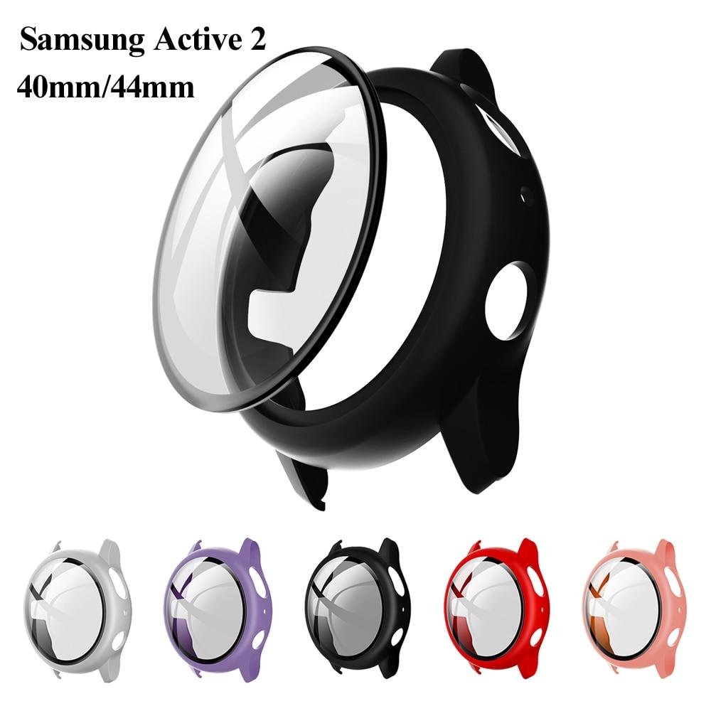 Housse de boîtier mat 9H verre trempé protecteur plein écran accessoires de montre intelligente pour Samsung Galaxy montre Active 2 40mm 44mm