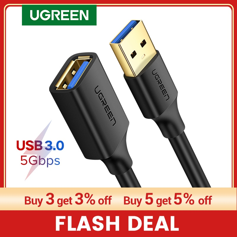 UGREEN USB Extension Cable USB 3.0 Cable for Smart Laptop PC TV Xbox One SSD USB 3.0 2.0 Extender Co