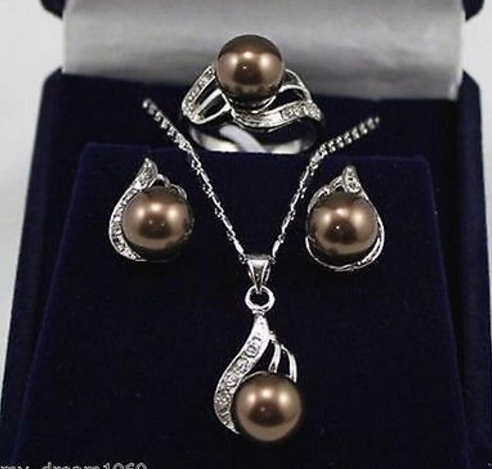 Joyería de moda envío gratis genuino 10mm perla de concha del Mar del Sur pendientes colgante Set anillo collar 789