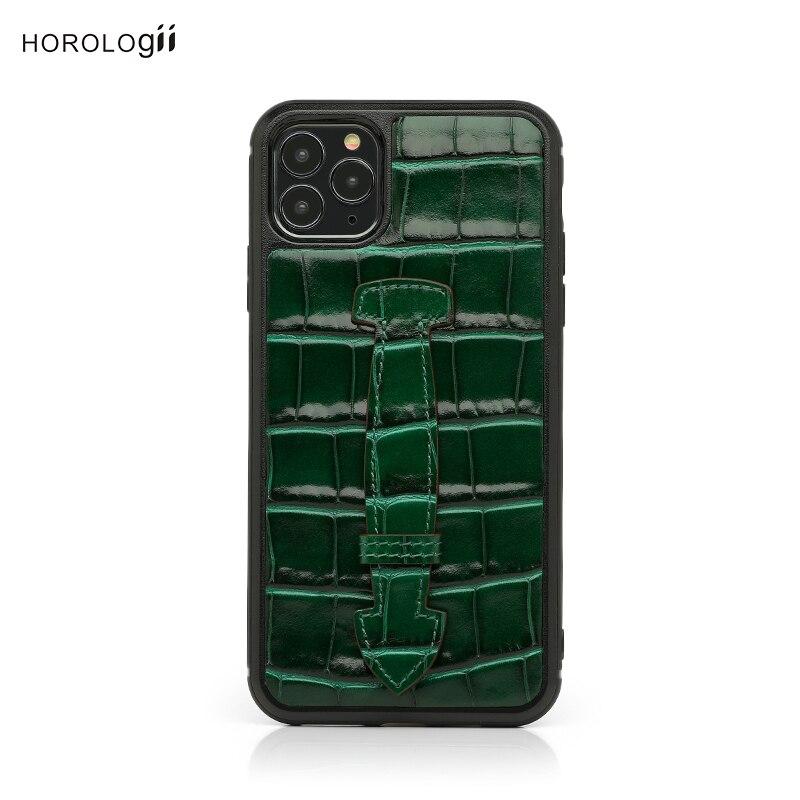 Horology i-جراب هاتف محمول بنمط تمساح إيطالي ، جراب فاخر لهاتف Iphone 12 11 Pro Max XR X XS مع حامل إصبع