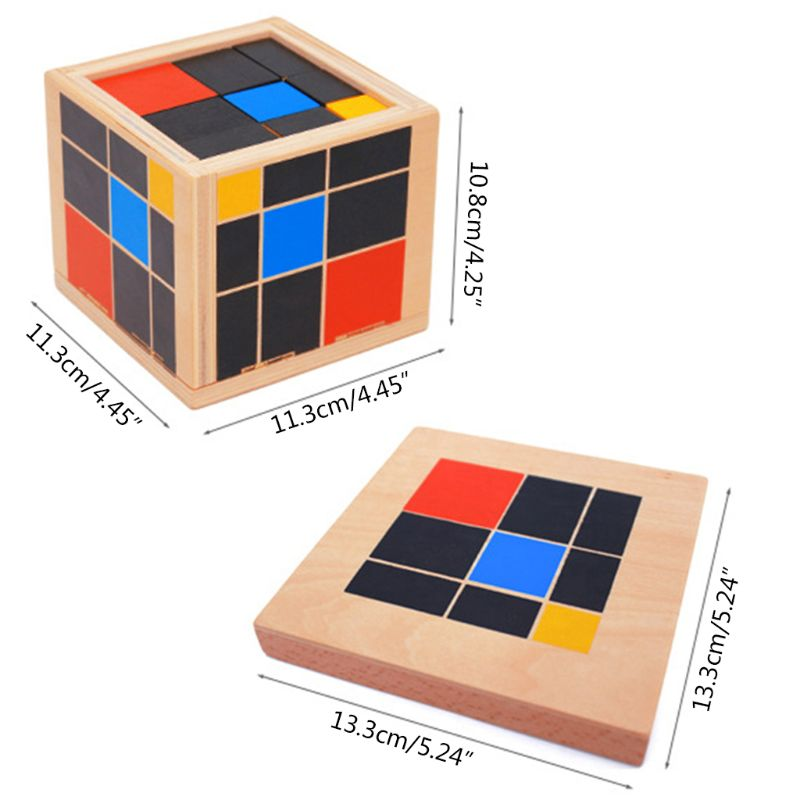 Early Learning Educational Toys Montessori Wooden Trinomial Cube for Toddlers Preschool Training Learning Toys Great Gift new wooden baby toys montessori wood fractional frame learning educational preschool training baby gifts