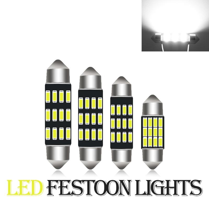 10 шт. гирлянда 31 мм 36 мм/39 мм/41 мм C5W CANBUS без ошибок авто светильник 12SMD 4014 светодиодный салона Купол Чтение лампа белый 12V