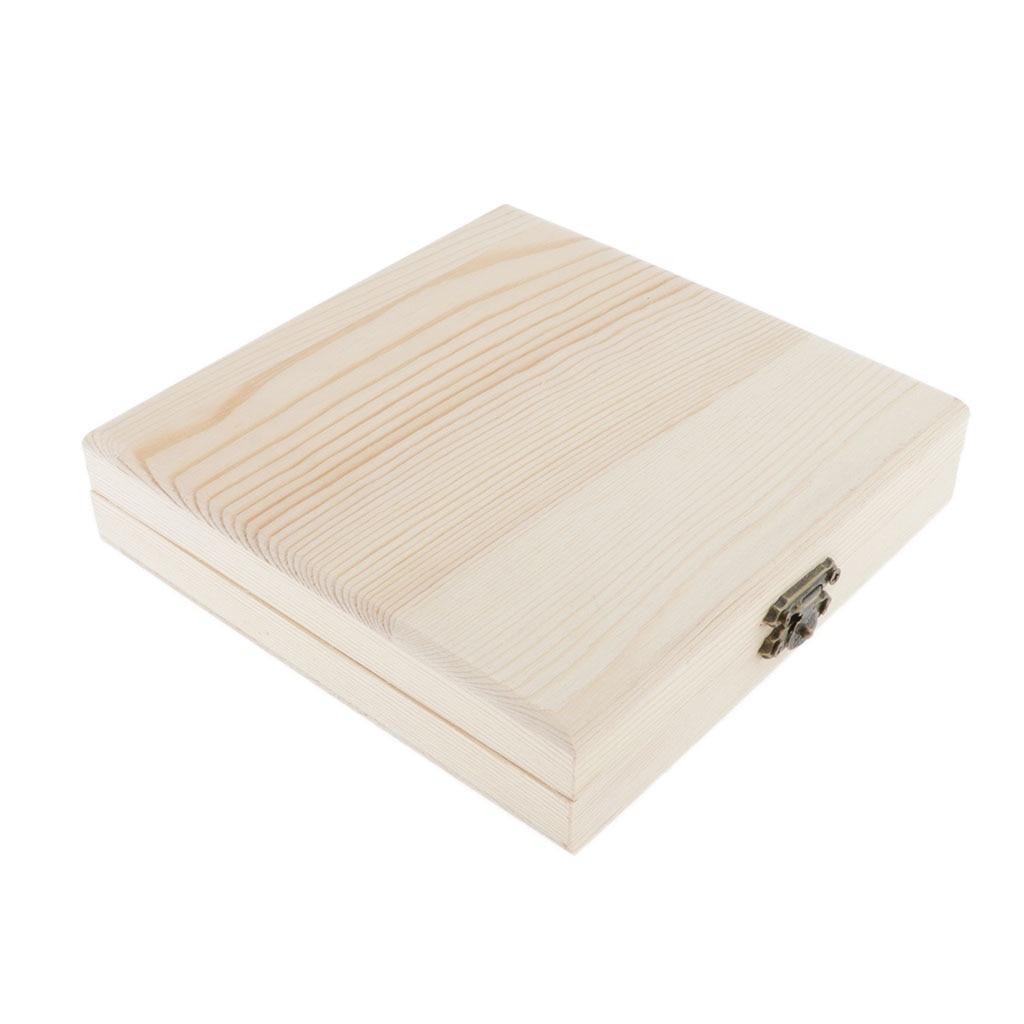 Unpainted Wooden Jewelry Box Unfinished Box Keepsake Trinket CD Box