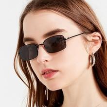 XaYbZc Unisex Small Retro Shades Rectangle Sunglasses Men Metal Frame Eyewear Outdoor Clear Lens Sun