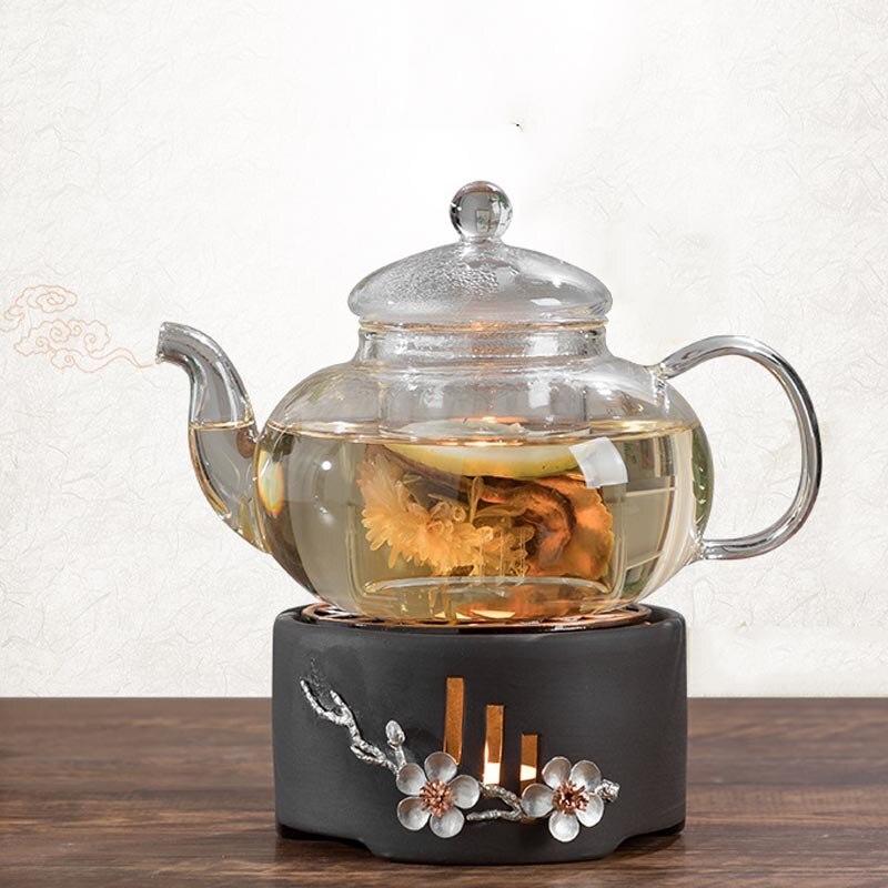 حامل شمعة مصنوع من السيراميك أبريق شاي زجاجي تدفئة دفئا قاعدة القهوة الحليب شاي بالأعشاب المزهرة موقد دافئ زهر البرقوق tewer العزل حامل