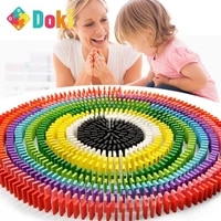 doki toy 120pcsset rainbow wooden domino toy set kids children baby dominoes game building blocks educational natural wood toys