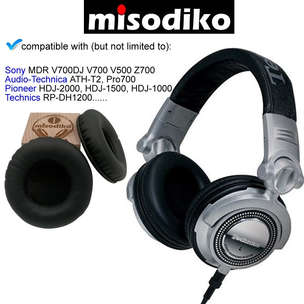 misodiko Replacement 90mm Headphones Ear Pads Cushions for TECHNICS RP-DH1200 DJ/ SONY MDR-V700, Z700 enlarge