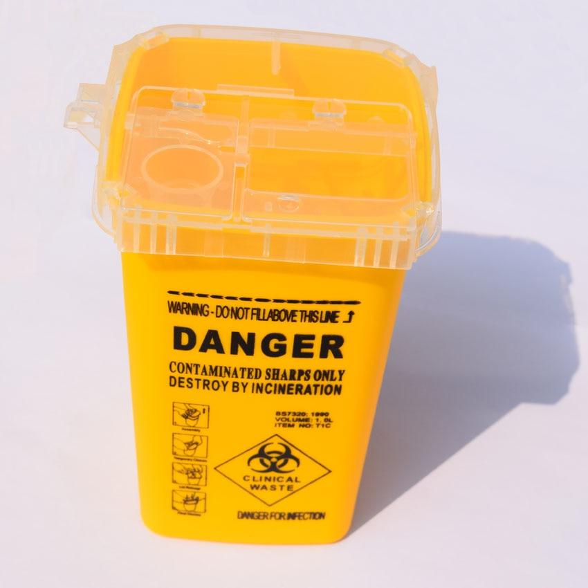 1Л емкость Шарп контейнер медицинские Иглы Bin Biohazard иглы для пирсинга Иглы избавление Коллекционная коробка тату художник неныжная коробка