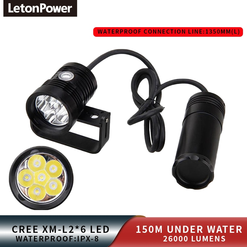 LetonPower Canister Dive Lamp light Technical Diving Highlighted Flashlight6xL2 10000lm Scuba Dive Torch  Underwater LED Lamp