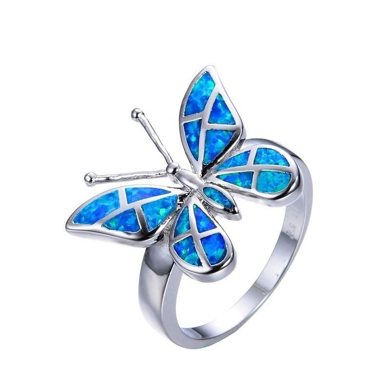 Anillo de mariposa para mujer, anillo de ópalo de Fuego Azul a la moda, joyería de color plateado, anillos de boda Vintage para mujer, accesorios de Navidad