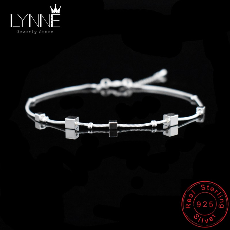 Hot Sale Beach Anklet 925 Sterling Silver Ladies Square Pendant Foot Chain Bracelet Women Fashion An