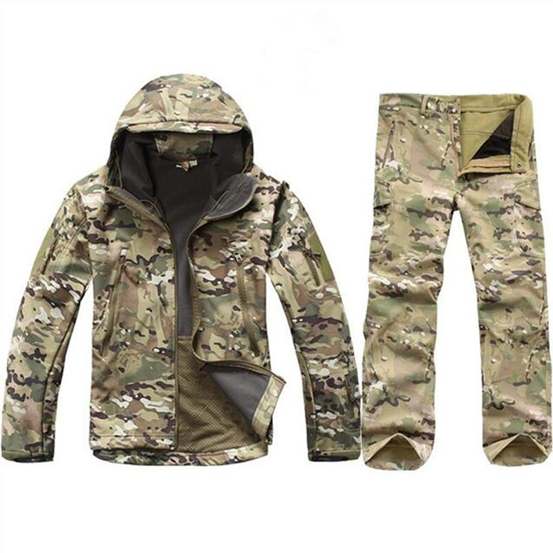 Tactical Softshell Camouflage Jacket Set Men Army Windbreaker Waterproof Hunting Clothes Camo Military Jacket andPants