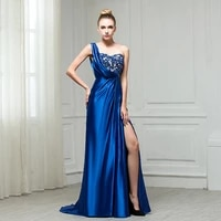 royal blue satin prom dresses 2021 mermaid one shoulder lace bing sequined sexy high split formal red carpet evening gowns new