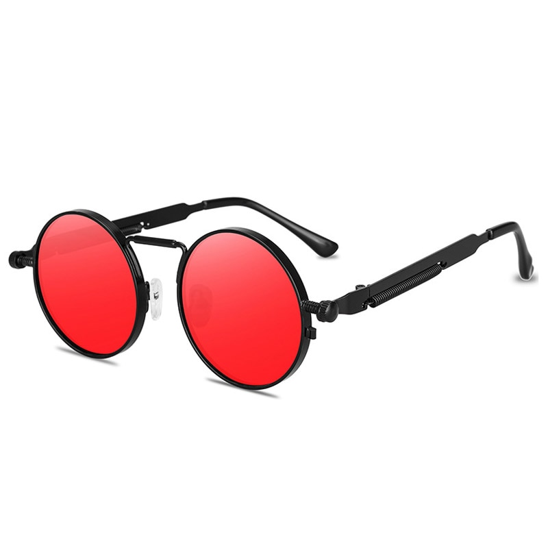 Fashion Round Steampunk Sunglasses Brand Design Men Women Vintage Metal Punk Sun glasses UV400 Shades Eyewear Gafas de Sol heisking clear red sunglasses men steampunk metal frame retro vintage round sun glasses for women black uv400 female eyewear