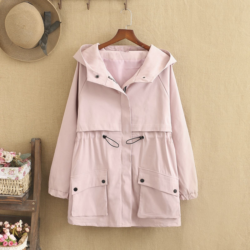 Plus Sizes Women's Coat Spring Suit Wear a Hat Collar Medium-Length Jacket in Solid Color with Pocket Trim Under 220 Pounds