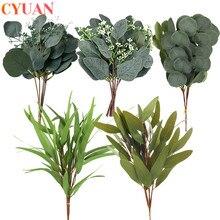 5pcs Artificial Plants Eucalyptus Green Leaves Fake Flower Plant  Decorative Flower Wreaths Wedding Decoration Home Table Decors