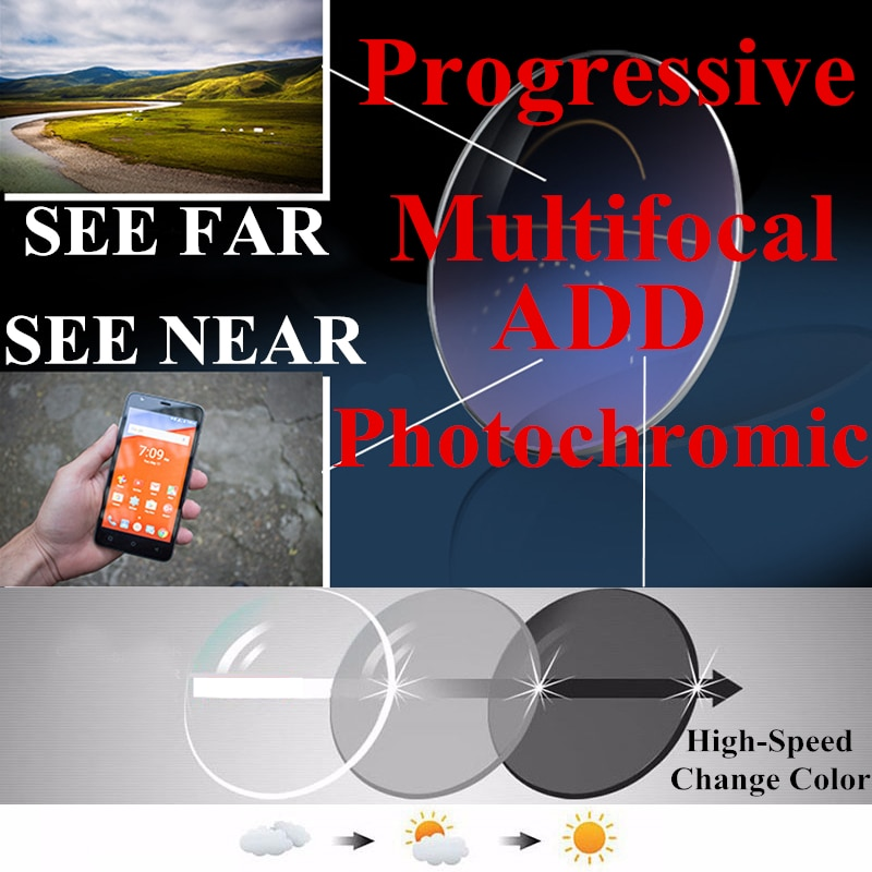 1.56 1.61 Photochromic Progressive Multifocal Reading Glasses Lenses for See Far and Near Colored Lenses for Eyes