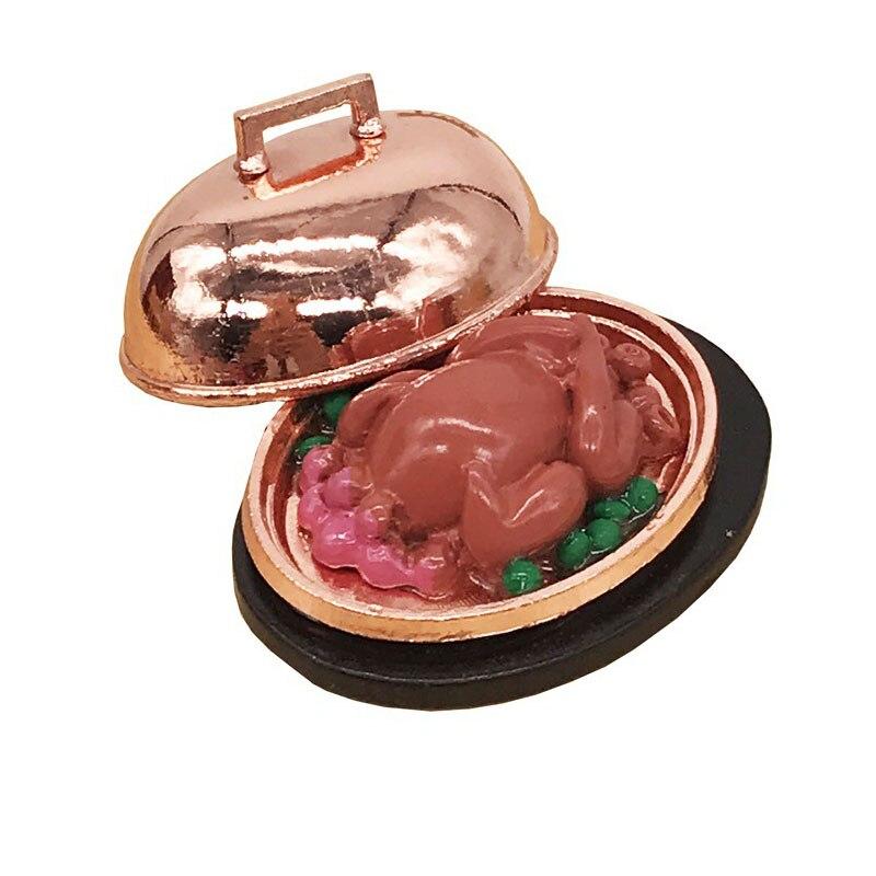 1/12, accesorios en miniatura para casa de muñecas, Mini pavo con plato, comida de imitación, juguetes modelo para decoración de casa de muñecas
