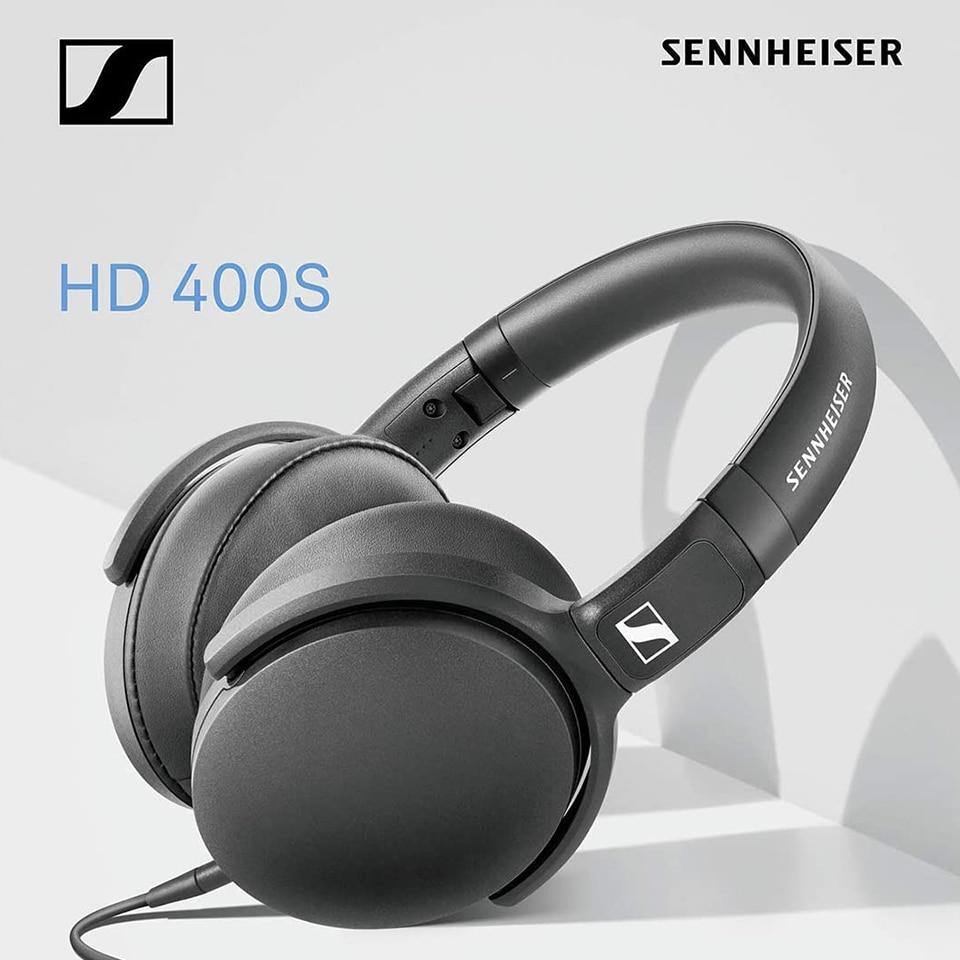 [해외] HD400S 유선 헤드폰 소음 차단 이어폰 스테레오 음악 접이식 스포츠 헤드셋 Sennheiser 휴대 전화 용 딥베이스