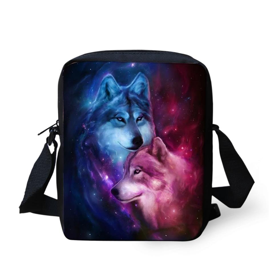 HaoYun Womens Messenger Bags Fantasy Wolf Prints Pattern Girls Cross Body Bag Cartoon Animal Fashion Mini Flaps Purse