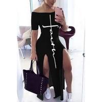letter pattern off shoulder split maxi dress women fall winter 2020 short sleeve sheath casual fashion sexy club long dresses