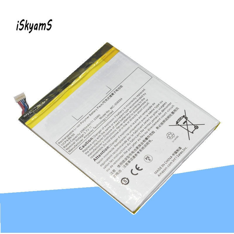 Iskyams 1x2980 mah MC-308594/mc 308594/mc308594 bateria de substituição para amazon kindle fire 7 5th gen sv98ln/bulk