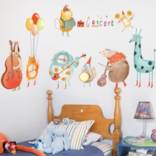 Karikatür müzik hayvan konser duvar çıkartmaları için çocuk odası duvar çıkartmaları oyun odası bebek kreş ev dekorasyon duvar dekor duvar PVC