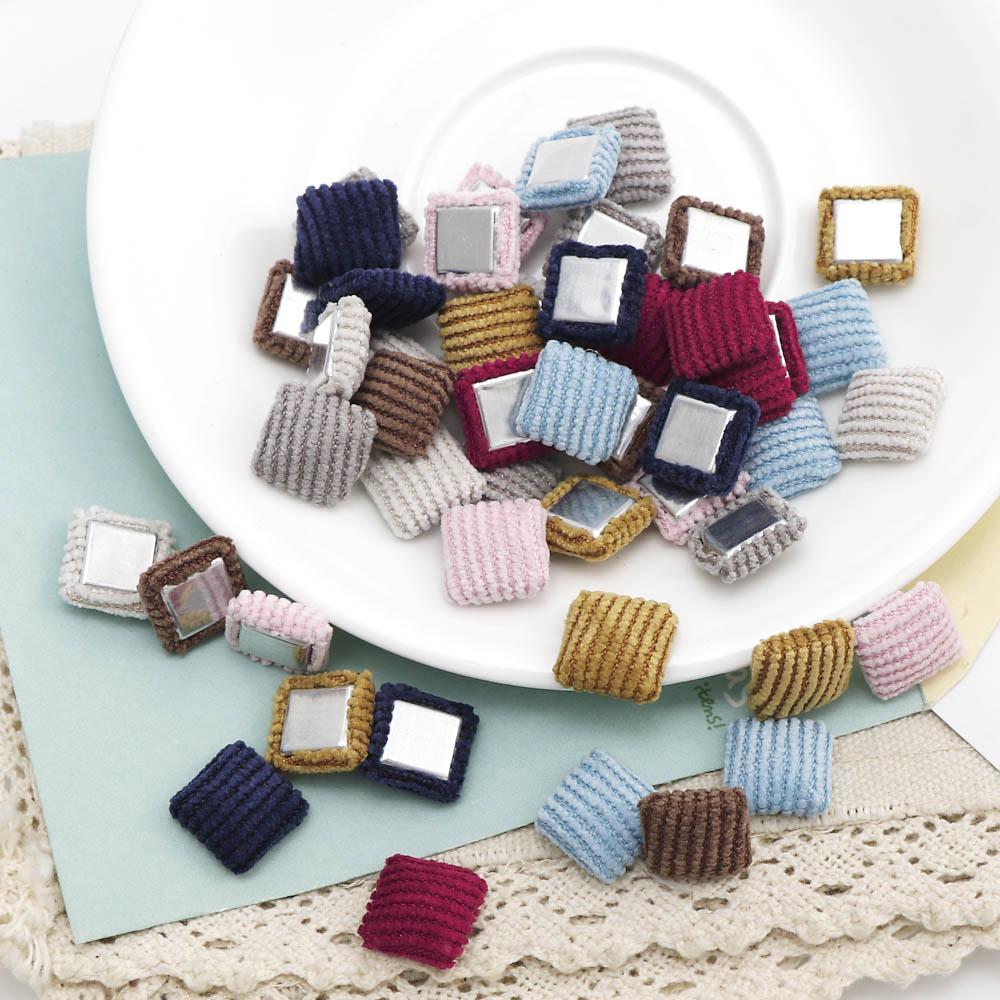 13mm mezcla de colores cuadrados botones tela álbum con recortes de tela botones cubiertos DIY ropa/adornos para el cabello botones para ropa