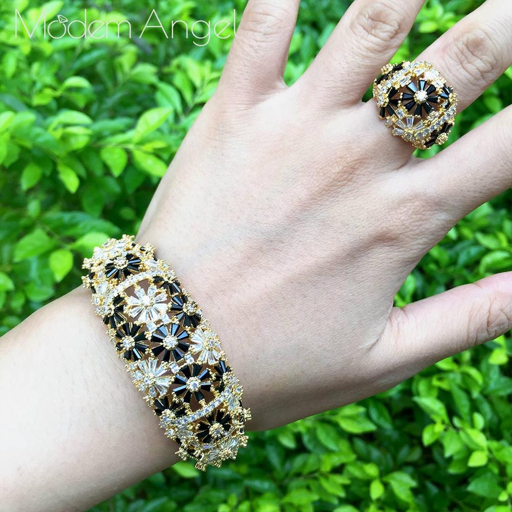 ModemAngel moda pulsera de circonita cúbica negra conjunto de anillos de moda Baguette Cuff para mujer chica fiesta boda joyería