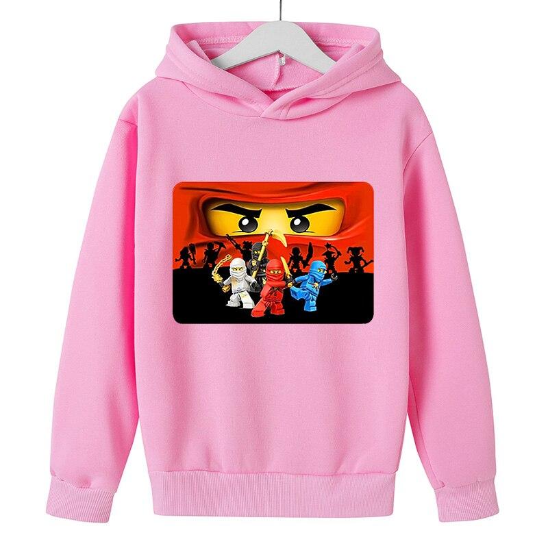 Толстовки для девочек, детские повседневные Модные свитшоты, спортивная одежда с мультяшным принтом ниндзя, удобная креативная уличная оде...
