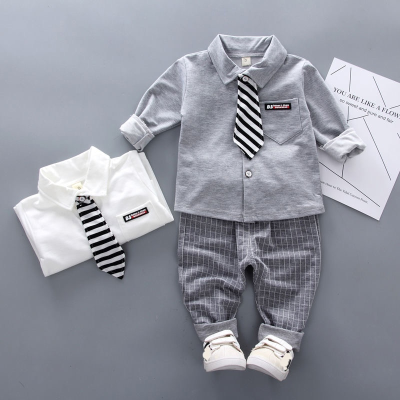 bibicola 2018 autumn winter newborn baby boy girls warm thicken clothing sets infant suit baby boys clothes set toddler outfits Autumn Infant Clothing Suit Baby Boys Clothes Formal Party Newborn Baby Boy Clothing Sets Tie Shirt + Pants Outfits Set 0-4 Year