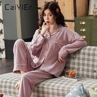 caiyier new women winter pajamas turn down collar cotton nightwear girls large size homewear long sleeve casual sleepwear m xxxl