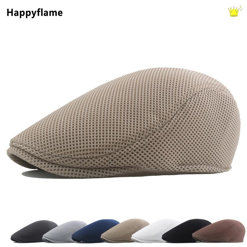 Summer Men Women Casual Solid Beret Hat Fashion Mesh Breathable Western Ivy Newsboy Caps Adjustable