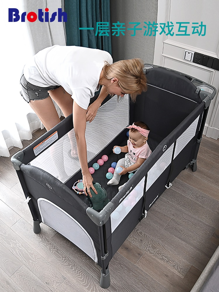 962 Crib Joint Bed Movable BB Multi-functional Portable Folding Newborns Baby Bedside Bed Bassinet