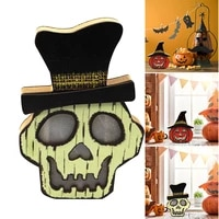 Wooden Pumpkin Skull Lantern Light Lamp Glowing Decorations for Halloween Party Bar Festival PLYED889