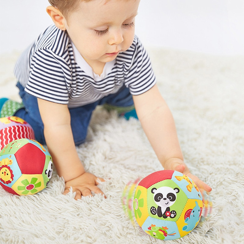 Educational Toy Baby Grasp Bell Plush Cloth Ball Infant Soft Multicolor Cartoon Animal Ball Educatio