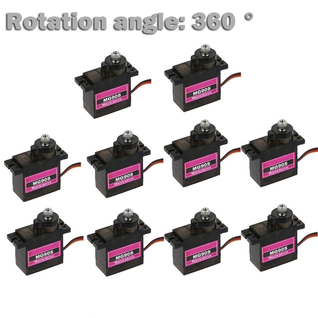 10pcs Mg 90s Micro Metal Gear 9g Servo For Rc Plane Helicopter Boat Car 4.8v- 6v Remote Controlled A