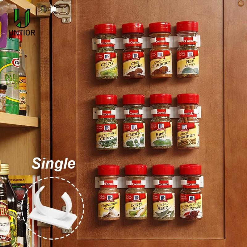 UNTIOR 4 pcs/set Storage Rack Plastic Hooks Spice Wall Rack No Trace Cuttable Kitchen Cruet Spice Clip Bottleneck Storage Shelf