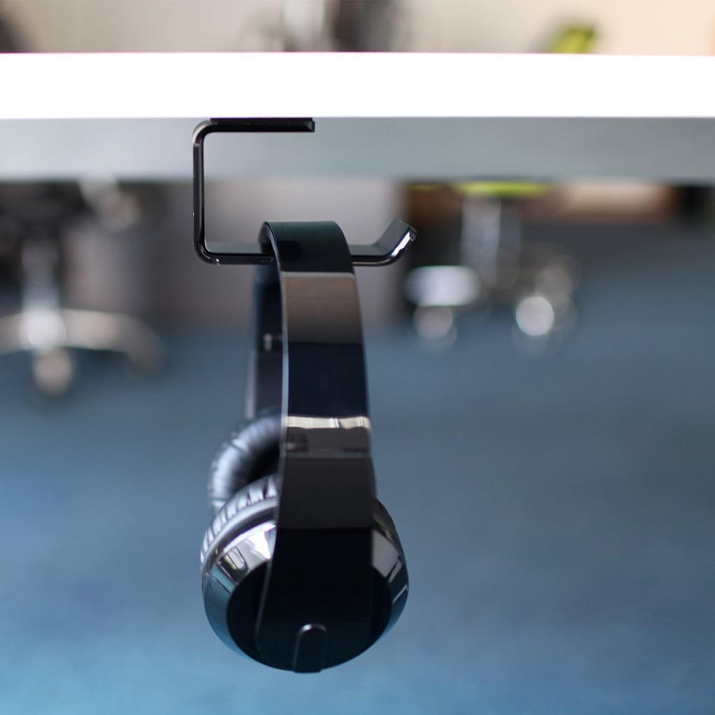 Worallymy, soporte de acrílico para auriculares, colgador de soporte debajo del escritorio, montado en la pared, soporte para auriculares, gancho, soporte adhesivo para auriculares