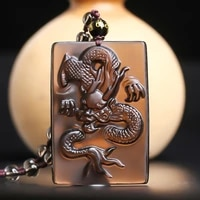 natural ice transparent obsidian chinese dragon necklace pendant hand carved auspicious dragon shape gem jewelry lucky amulet